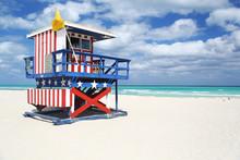 Lifeguard Hut Painted In Stars & Stripes, Miami Beach
