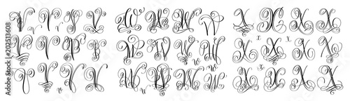 Stampa su Tela  calligraphy letters set V, W and X, script font