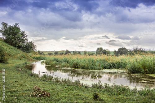 Fotografie, Obraz  Summer landscape: narrow river with overgrown shores and cloudy rainy sky_