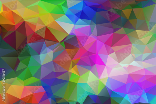 Abstract, colorful, multicolor and iridescent background of triangles фототапет