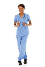 Doctors: Female Nurse On White...