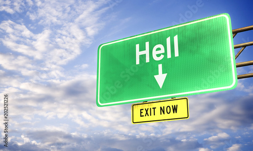 Photo  3d: Road Sign Saying Hell