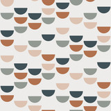 Abstract geometric background with semi circles and circles. Seamless pattern in scandinavian style. Vector wallpaper. - 202521410