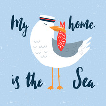 Cartoon Seagull-sailor Illustr...