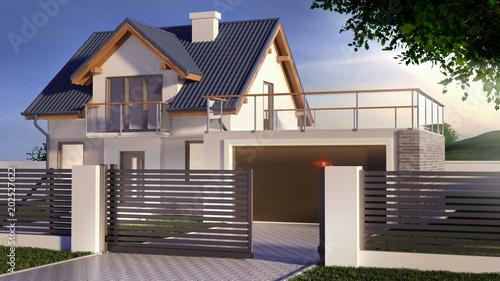 Fotografia Sliding gate and house