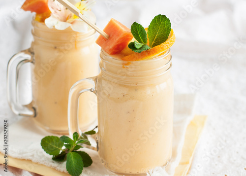Ingelijste posters Milkshake Fresh tropical smoothie with ingredients