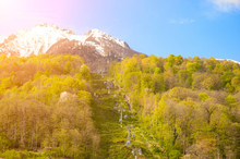 Ski Lift In The Caucasus Mountains Rocky Mountains In Spring