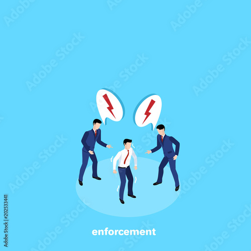 Fototapety, obrazy: men in business suits exercise psychological pressure on their counterpart, isometric image