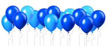 Large Group Of Light Sky Blue Balloon Isolated On A White Background. Party Decoration For Celebrations And Birthday