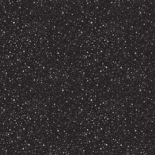 Night Sky With Stars Or Falling Snow Vector Seamless Pattern. Cosmic Abstract Background. Winter, New Year, Christmas Texture With Spray, Specks, Flecks, Splash, Snowflake. White Uneven Spots Or Dots.