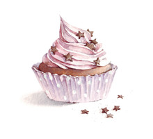 Watercolor Strawberry Cupcake ...