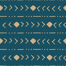 Vector Tribal Stripe Teal Seamless Repeat Pattern Background