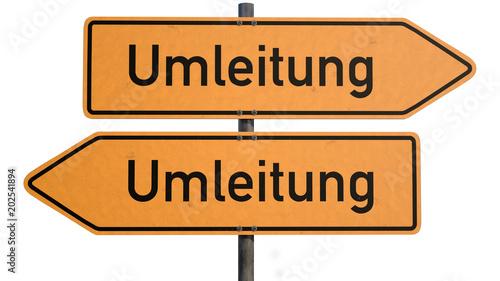 """Fotografie, Obraz  Ein verwirrender Wegweiser mit Text """"Umleitung"""" vor weißem Hintergrund  A conf"""