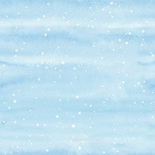 Seamless Watercolor Christmas Pattern Background With Snowflakes On Blue Background