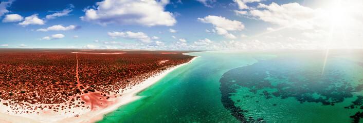 zračna australijanska plaža i tirkizni greben