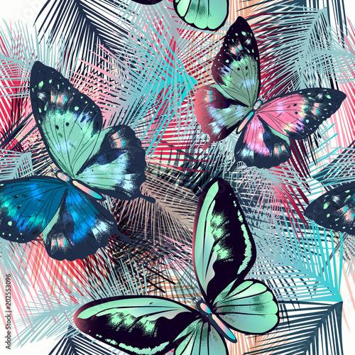 wzor-w-tropikalne-liscie-palmowe-i-motyle-wektor-niebiesko-rozowe-odcienie-tapety-rysunek