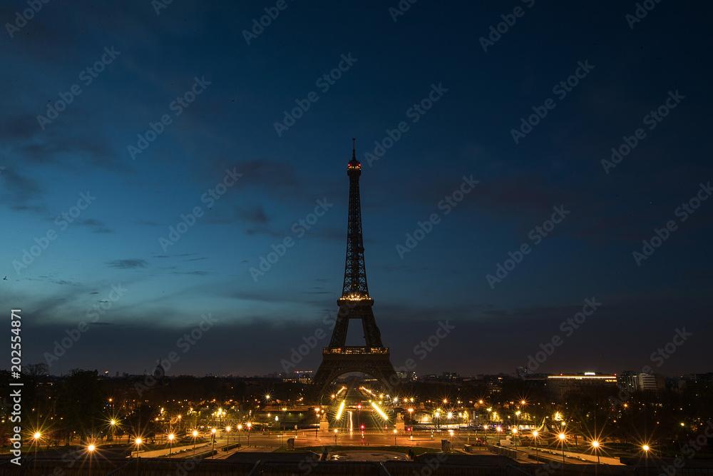Pre-dawn at the Eiffel Tower in Paris, France
