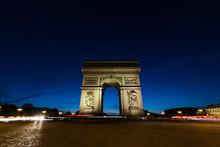 Arc De Triomphe At Night In Pa...