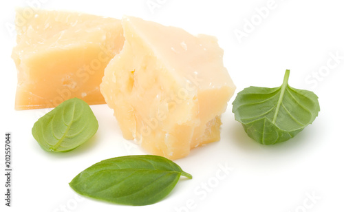 shredded parmesan cheese and basil leaf isolated on white background cutout