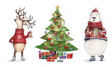 Watercolor Christmas Illustration With Christmas Tree, Holiday Deer And Colorful Bear. Christmas Cards. Winter Design. Merry Christmas!