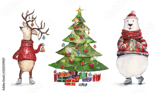 Christmas Illustrations.Watercolor Christmas Illustration With Christmas Tree