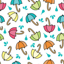 Vector Colorful Umbrellas Seamless Pattern Repeat