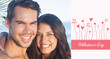 Cheerful loving couple having holidays against valentines graphic