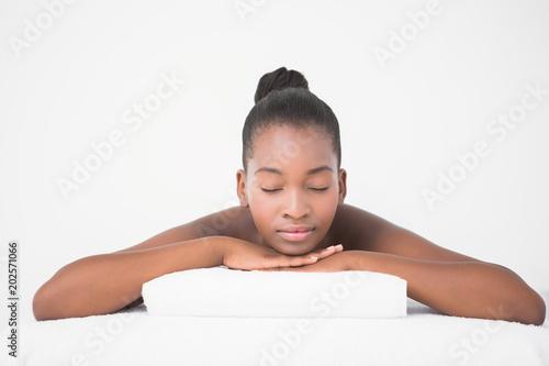 Obraz na plátně  Peaceful pretty woman lying on massage table