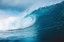 Ocean Blue Wave In Ocean. Brea...