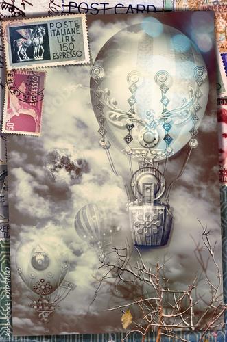 Deurstickers Imagination Cartolina vintage con mongolfiere in volo e francobolli di posta aerea
