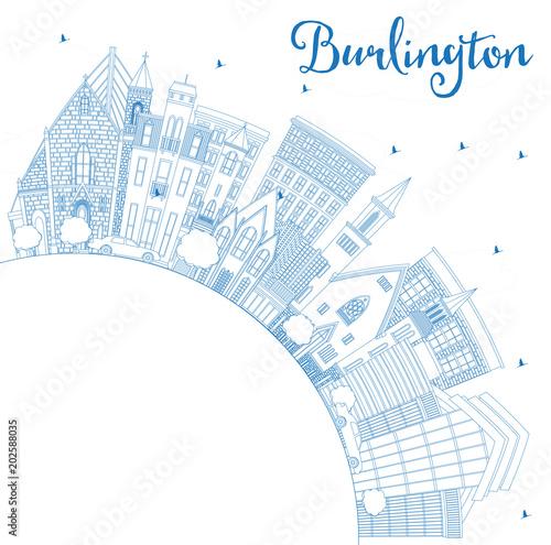 Obraz na plátně  Outline Burlington Iowa City Skyline with Blue Buildings and Copy Space