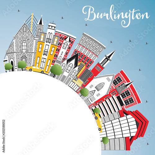 Obraz na plátně  Burlington Iowa City Skyline with Color Buildings, Blue Sky and Copy Space