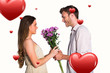Side view of couple holding flowers against hearts