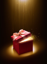 Pink Open Gift Box With Magical Light