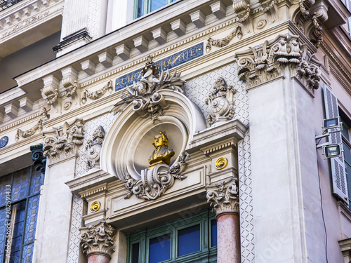 Deurstickers Theater NICE, FRANCE, on March 6, 2018. Fragment of a facade of city opera theater