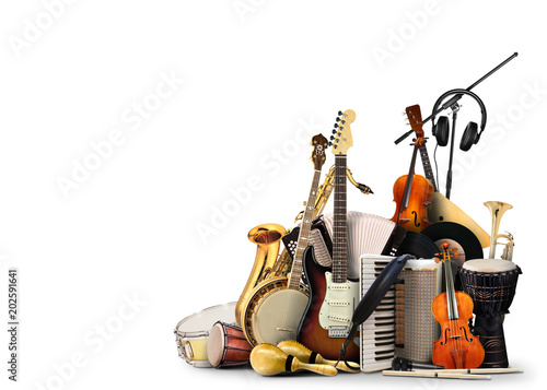 Musical instruments, orchestra or a collage of music - 202591641