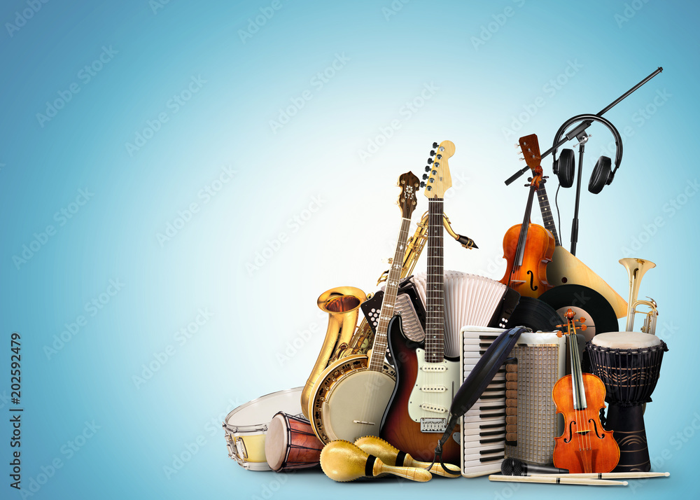 Fototapeta Musical instruments, orchestra or a collage of music