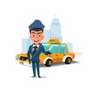 chauffeur with his taxi car. character design. taxi service concept - vector