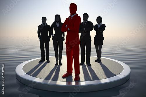 Executive Leading a team at dawn Canvas Print