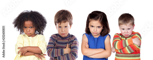 Photo Many angry children