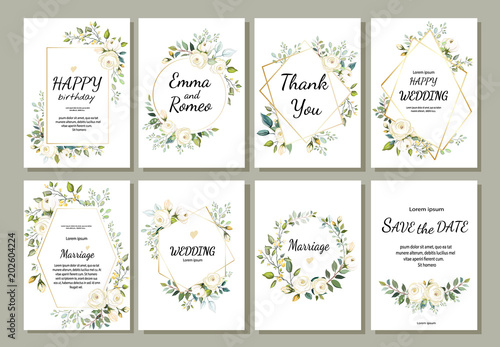Foto  Set of card with flower rose, leaves and geometrical frame