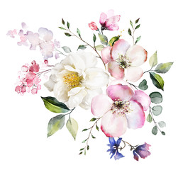 Panel Szklany Inspiracje na wiosnę decorative watercolor flowers. floral illustration, Leaf and buds. Botanic composition for wedding or greeting card. branch of flowers - abstraction roses, romantic