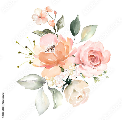 watercolor flowers. floral illustration, Leaf and buds. Botanic composition for wedding or greeting card.  branch of flowers - abstraction roses Fototapete
