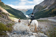 Horse Riding At Lake Louise, Banff National Park, Canadian Rockies