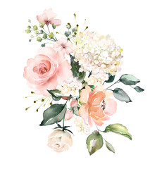 Naklejka watercolor flowers. floral illustration, Leaf and buds. Botanic composition for wedding or greeting card. branch of flowers - abstraction roses, hydrangea