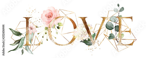 watercolor illustration with wild flowers, herbs, rose. Cool print on T-shirt with geometric shape. Lettering - love