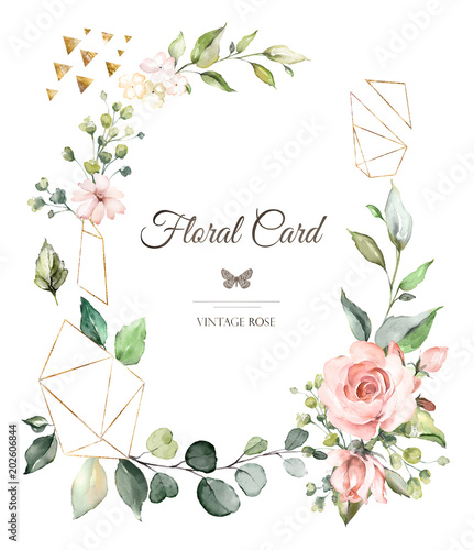 Card Watercolor Wedding Invitation Design With Pink Roses