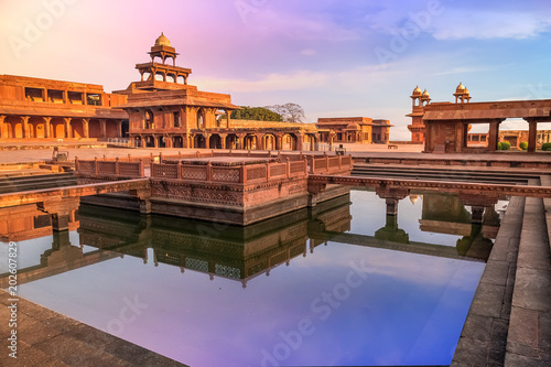 Fatehpur Sikri Agra, India with view of Anup Talao at sunrise Wallpaper Mural