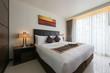 Bedroom interior. Modern bedroom in luxury apartment.