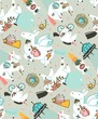 Hand drawn vector abstract graphic creative cartoon illustrations seamless pattern with cosmonaut unicorns with old school tattoo,pagasus and spaceship in cosmos isolated on pastel background